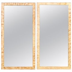 Pair of Rectangular Hollywood Regency Faux Marble Wall, Console or Pier Mirrors