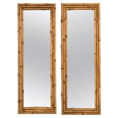 Pair of Rectangular Palm Beach Regency Bamboo Mirrors
