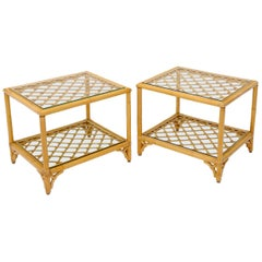 Pair of Rectangular Rattan Bases Glass Top End Side Tables
