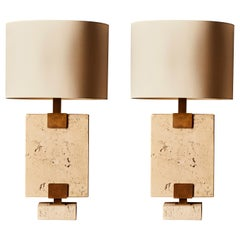 Pair of Rectangular Travertin and Brass Table Lamps