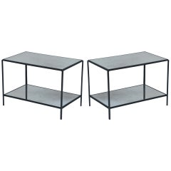 Pair of 'Rectiligne' Wrought Iron and Mirror End Tables by Design Frères