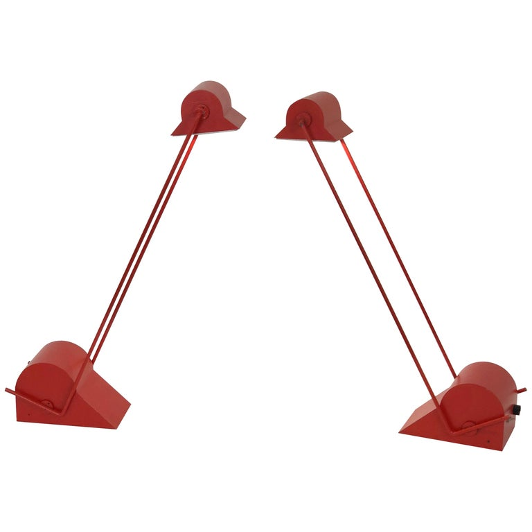 "Pair of Red ""Alugena"" Adjustable Table Lamps by Sergio Asti C.I.L. Roma, 1970s 1"