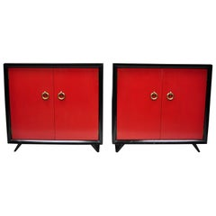 Pair of Red and Black Art Deco Mid-Century Modern Cabinet Commodes by Harjer