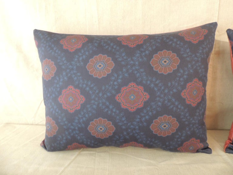 Country Pair of Red and Blue Satin Cotton Modern Bolster Decorative Pillows For Sale