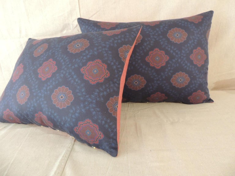 Portuguese Pair of Red and Blue Satin Cotton Modern Bolster Decorative Pillows For Sale