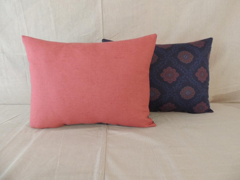 Hand-Crafted Pair of Red and Blue Satin Cotton Modern Bolster Decorative Pillows For Sale