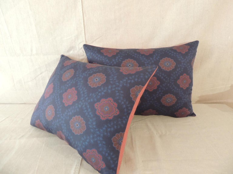 Pair of Red and Blue Satin Cotton Modern Bolster Decorative Pillows In Good Condition For Sale In Oakland Park, FL