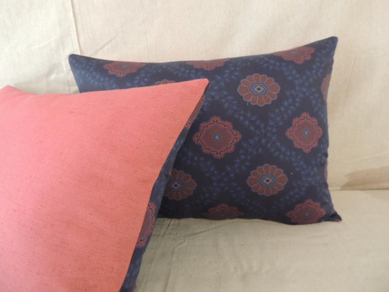 Contemporary Pair of Red and Blue Satin Cotton Modern Bolster Decorative Pillows For Sale