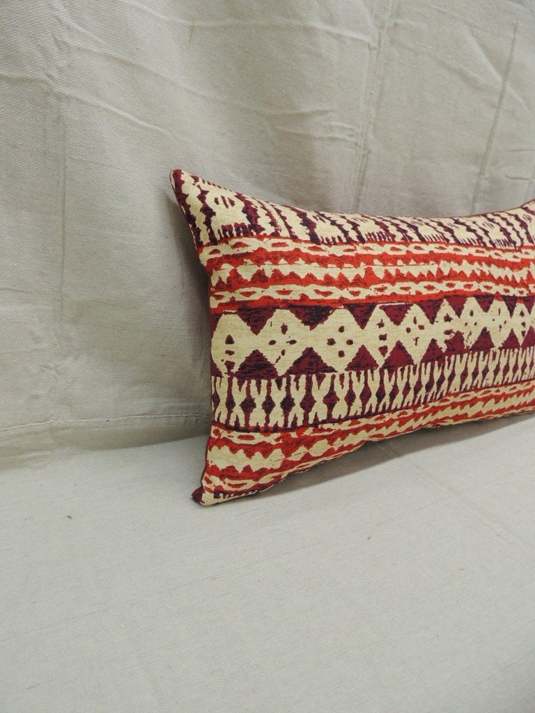 Pair of red and brown vintage decorative Lumbar pillows.