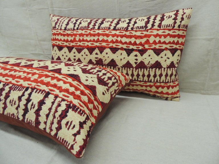 Bohemian Pair of Red and Brown Vintage Decorative Lumbar Pillows For Sale