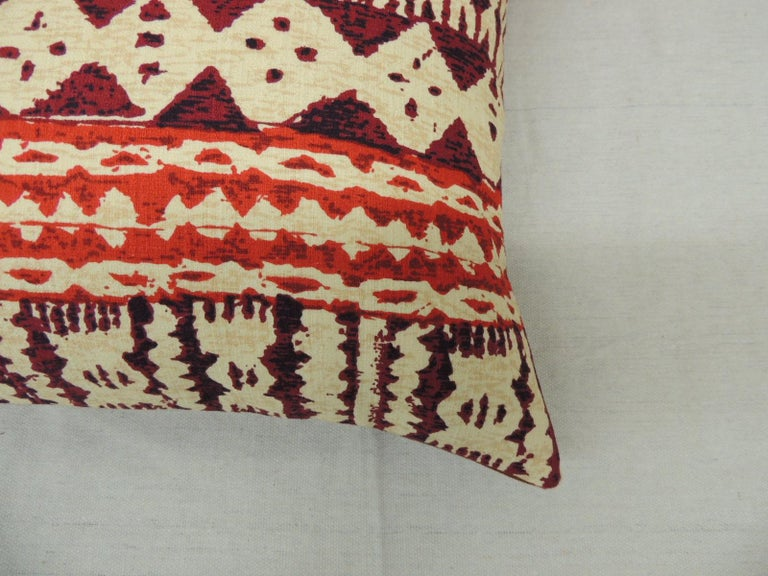 Balinese Pair of Red and Brown Vintage Decorative Lumbar Pillows For Sale