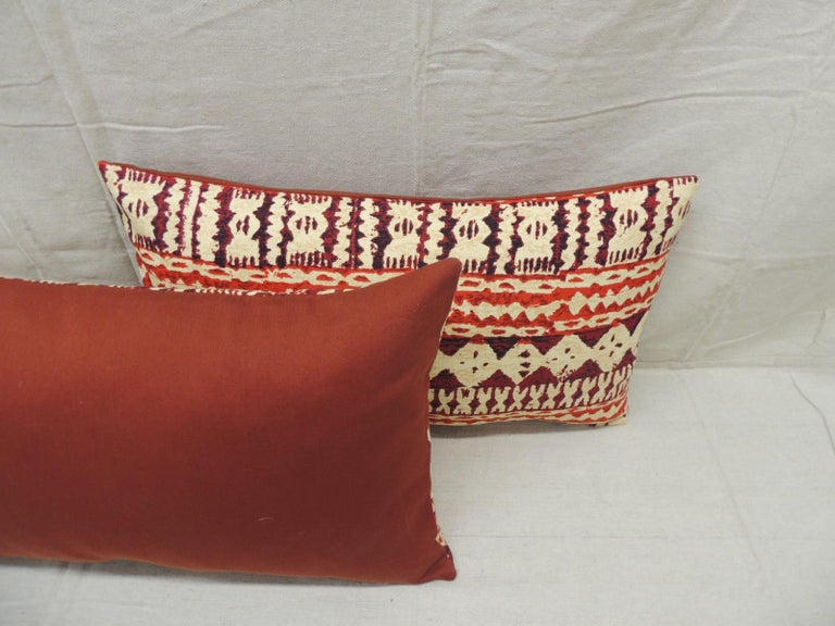 Hand-Crafted Pair of Red and Brown Vintage Decorative Lumbar Pillows For Sale