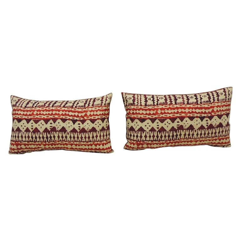 Pair of Red and Brown Vintage Decorative Lumbar Pillows For Sale