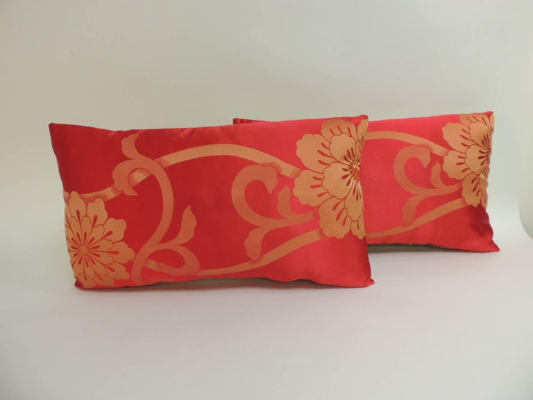 Pair Of Red And Gold Floral Woven Obi Lumbar Decorative Pillows For Amazing Red And Gold Decorative Pillows