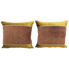 Pair of Red and Gold Silk Velvet Square Decorative Pillows
