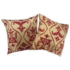 Pair of Red and Golden Tan Silk Ikat Pillows