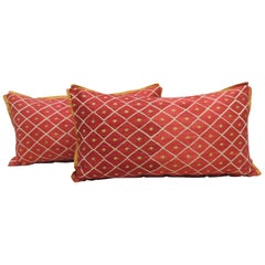 "Pair of Red and Yellow ""Phulkari"" Embroidery Silk Bolster Decorative Pillows"