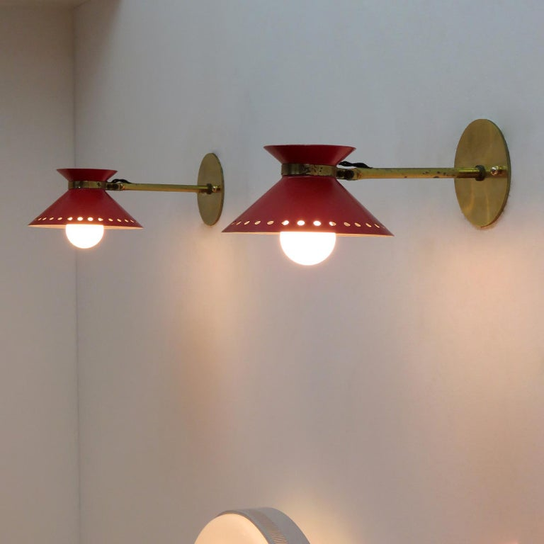 Pair of Red Arlus Wall Lights, 1950 For Sale 2