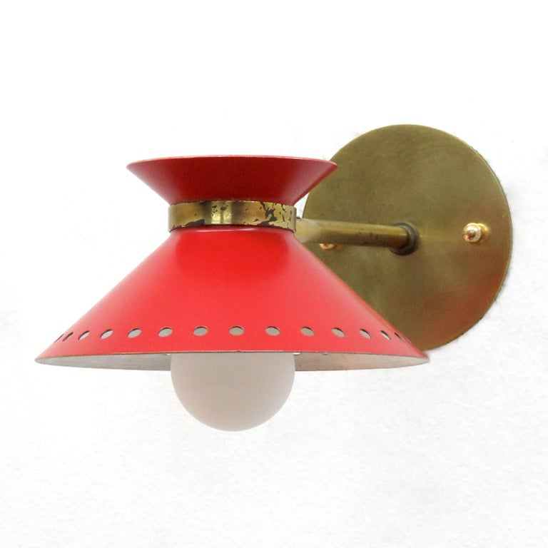Mid-Century Modern Pair of Red Arlus Wall Lights, 1950 For Sale