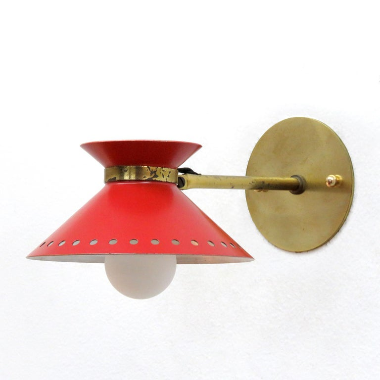 French Pair of Red Arlus Wall Lights, 1950 For Sale