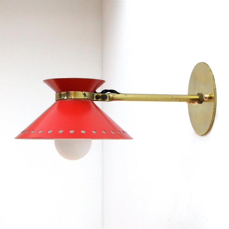 Enameled Pair of Red Arlus Wall Lights, 1950 For Sale