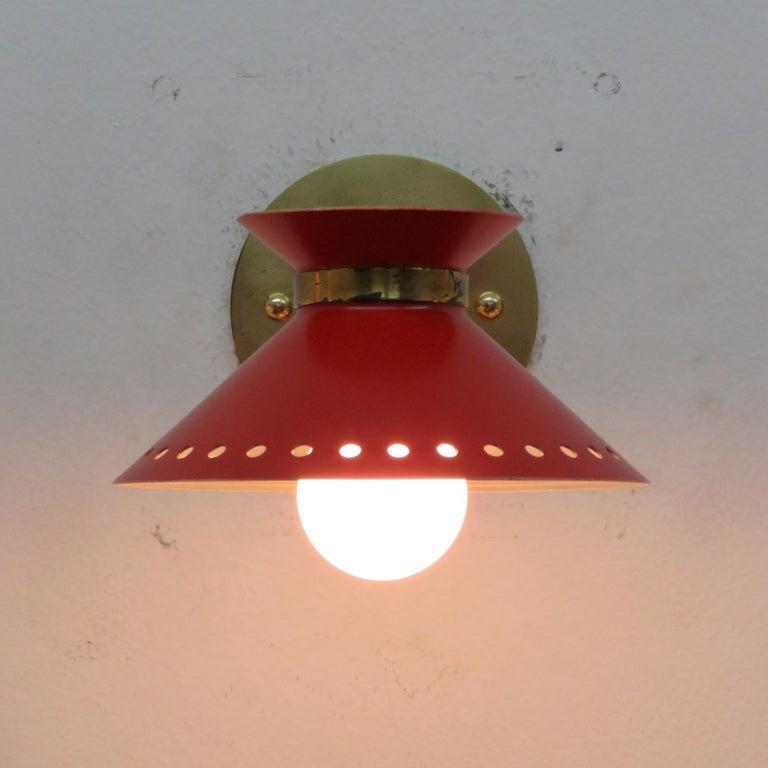 Metal Pair of Red Arlus Wall Lights, 1950 For Sale