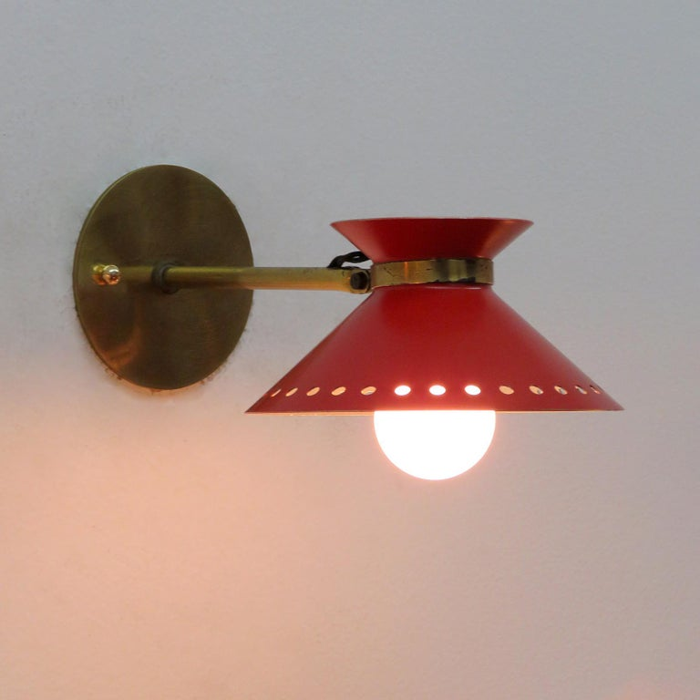 Pair of Red Arlus Wall Lights, 1950 For Sale 1