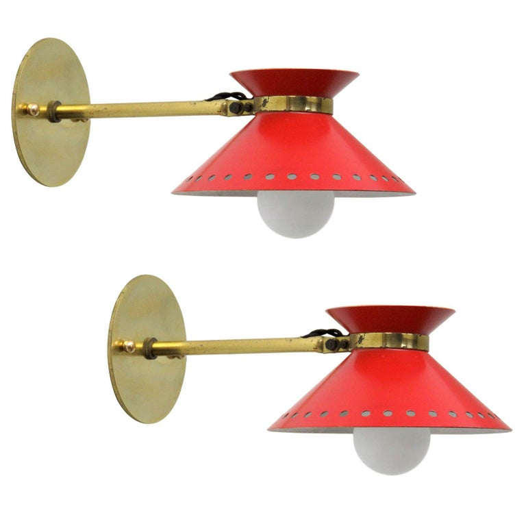Pair of Red Arlus Wall Lights, 1950 For Sale