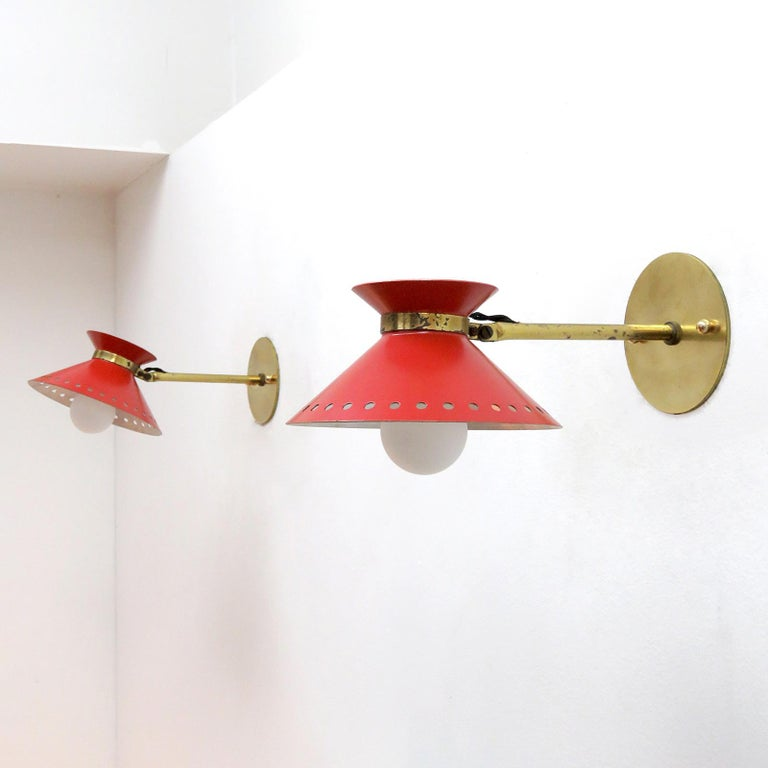 Mid-20th Century Pair of Red Arlus Wall Lights