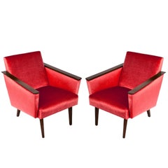 Pair of Red Armchairs, 1960s, DDR, Germany