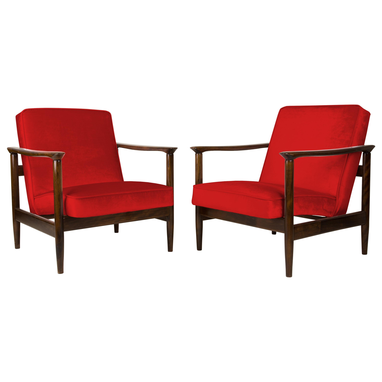 Pair of Red Armchairs, Edmund Homa, GFM-142, 1960s, Poland