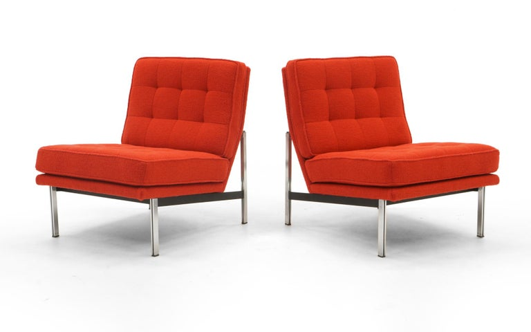 Mid-Century Modern Pair Armless Lounge Chairs by Florence Knoll. Restored in Classic Boucle.    For Sale