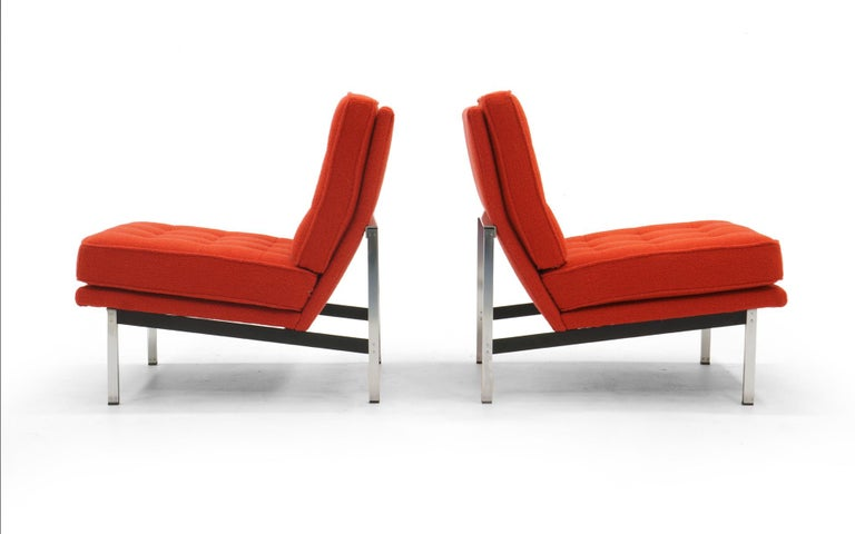 American Pair Armless Lounge Chairs by Florence Knoll. Restored in Classic Boucle.    For Sale
