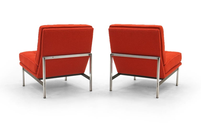 Pair Armless Lounge Chairs by Florence Knoll. Restored in Classic Boucle.    In Good Condition For Sale In Kansas City, MO