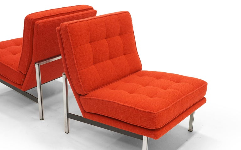 Mid-20th Century Pair Armless Lounge Chairs by Florence Knoll. Restored in Classic Boucle.    For Sale