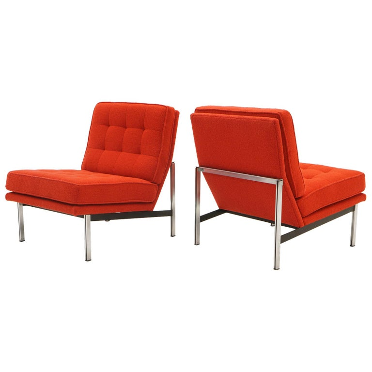 Pair Armless Lounge Chairs by Florence Knoll. Restored in Classic Boucle.    For Sale