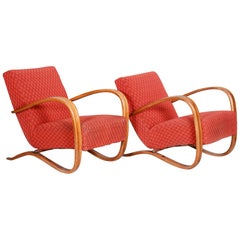 Pair of Red Art Deco Beech Armchairs H-269, Czechoslovakia by Jindrich Halabala
