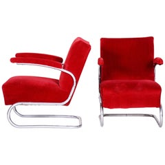 Pair of Red Bauhaus Tubular Steel Cantilever Armchairs by Mücke, Melder, 1930s