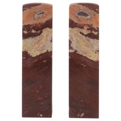 Pair of Red Burgundy Marble Sculptures or Bookends