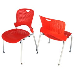 Pair of Red Caper Stacking Chairs by Jeff Weber for Herman Miller