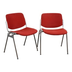 Pair of Red Chair DSC 106 Giancarlo Piretti for Castelli Aluminum, Italy, 1960s