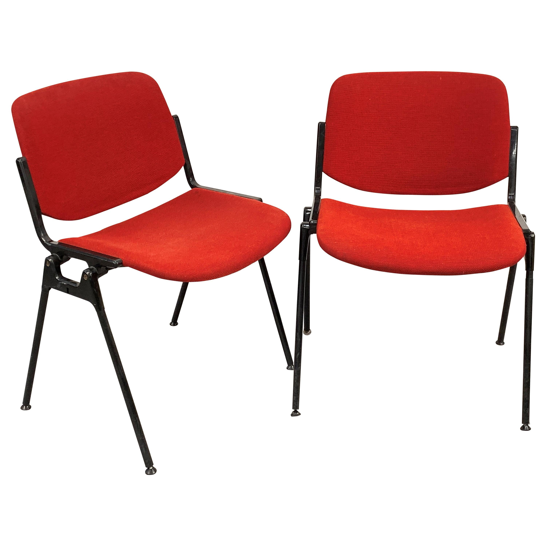 Pair of Red Chair DSC 106 Giancarlo Piretti for Castelli Aluminum, Italy, 1960s