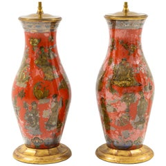 Pair of Red Chinoiserie Lamps