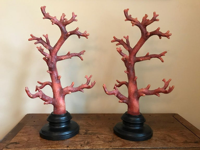 Very decorative pair of cast resin faux red coral on integral black oval bases. Great scale at 20 inches high by 10 wide, these really make a statement, mid-20th century.