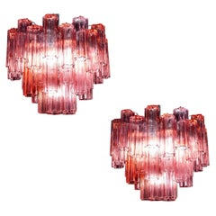 Pair of Red Coral Murano Glass Tronchi Chandelier 1970