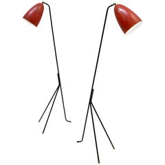 Pair of Red Danish Grasshopper Floor Lamps by Svend Aage Holm Sørensen