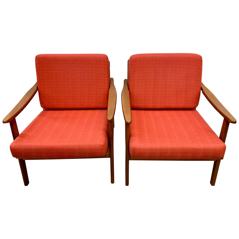 Pair of Red Danish Midcentury Lounge Armchairs