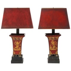 Pair of Red Decorated Lamps