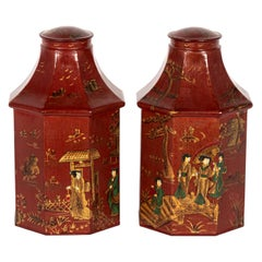 Pair of Red Decorated Tea Tins