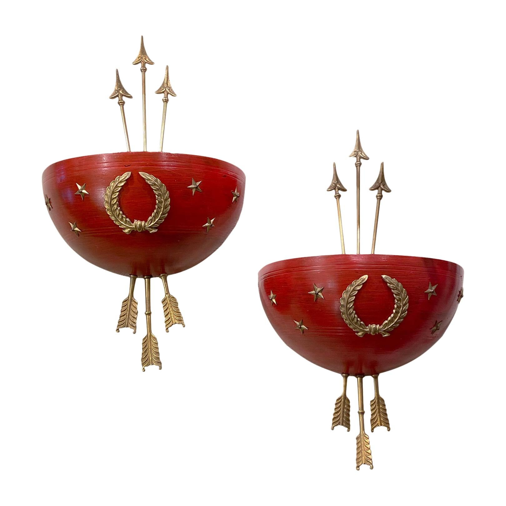Pair of Red Empire Style Sconces